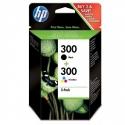 Cartucho de tinta HP 300+300 Negro/Tricolor Original