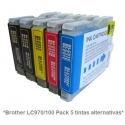 Pack de 5 tintas Premium Brother LC970/1000
