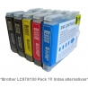 Pack de 5 tintas compatible Brother LC970/1000