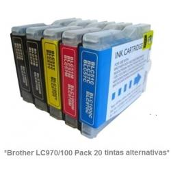 Pack de 10 tintas compatible Brother LC970/1000