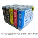 Pack de 20 tintas compatible Brother LC970/1000