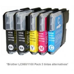 Cartucho de tinta compatible Brother LC980/1100Y