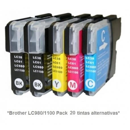 Pack de 10 tintas compatible Brother LC980/1100