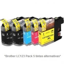 Pack de 5 tintas compatible Brother LC121/123