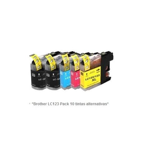 Pack de 10 tintas compatible Brother LC121/123