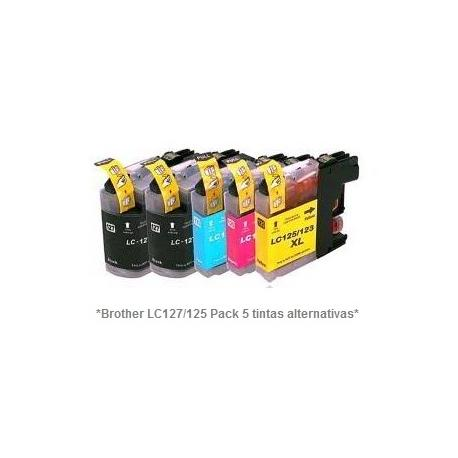 Pack de 5 tintas compatible Brother LC127/125