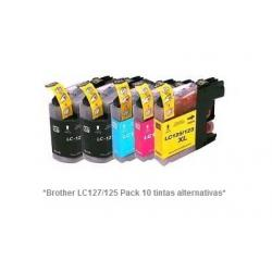 Pack de 10 tintas compatible Brother LC127/125