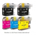 Pack de 5 tintas compatible Brother LC223