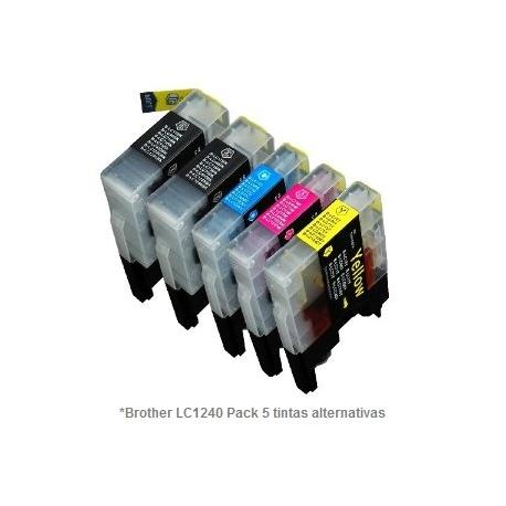 Pack de 5 tintas compatible Brother LC1220/1240