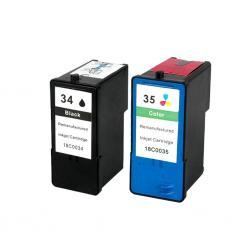 Cartucho de Tinta Lexmark 34xl+35xl Negro/Tricolor Compatible
