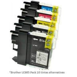 Pack de 5 tintas compatible Brother LC985