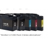 Pack de 5 tintas compatible Brother LC1280