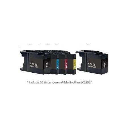 Pack de 10 tintas compatible Brother LC1280