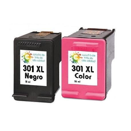 Cartucho de tinta HP 301XL Negro / Tricolor Premium